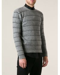 Saint Laurent Gray Striped Jumper - Lyst