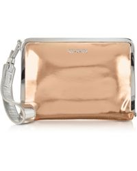 McQ by Alexander McQueen Aira Rose Gold And Silver Metallic Eco Leather Clutch - Lyst