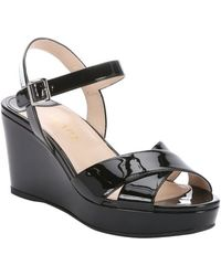 Prada Black Patent Leather Strappy Slingback Wedge Sandals - Lyst