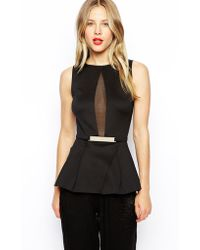 Asos Peplum Top With Mesh And Gold Bar - Lyst