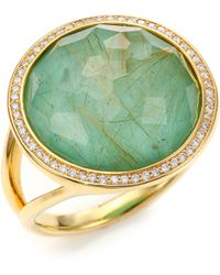 Ippolita Rock Candy Turquoise, Rutilated Quartz, Diamond & 18K Yellow Gold Doublet Cocktail Ring - Lyst