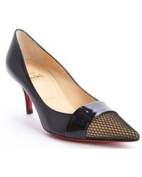 Christian Louboutin Black Leather Fabric Accent Gladiator 70 Pumps - Lyst