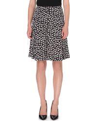 Diane Von Furstenberg Rosalita Printed Stretchsilk Skirt Blackwhite - Lyst