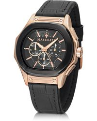 Maserati Fuoriclasse Multi-Function Dial And Black Eco-Leather Strap Men'S Watch - Lyst