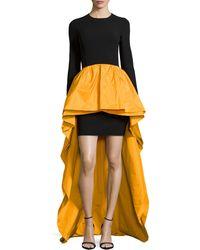 Michael Kors Long-sleeve Knit  Taffeta Peplum Gown - Lyst