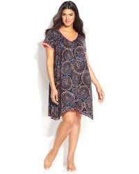 DKNY Plus Size in A Heartbeat Short Sleeve Chemise - Lyst