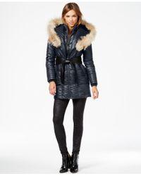 Rudsak - Sofia Coyote-fur-trim Leather-belt Puffer Coat - Lyst