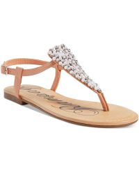 Rampage Pindle Faux-pearl Thong Sandals - Lyst