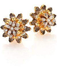 House of Lavande | Vintage Pauline Trigere Floral Faceted Clip-on Stud Earrings | Lyst
