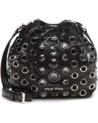 Miu Miu Crystalembellished Leather Drawstring Bag - Lyst
