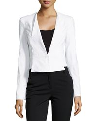 Zac Zac Posen Cropped Seamed Suiting Jacket - Lyst