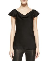 Michael Kors Charmeuse Flutter-sleeve Top - Lyst