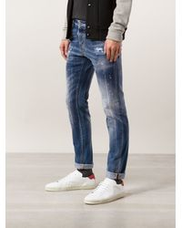 DSquared2 Blue Distressed Jeans - Lyst