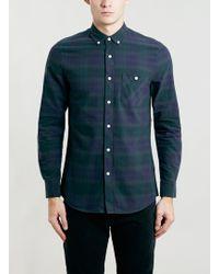 Topman Green Tartan Long Sleeve Casual Shirt - Lyst