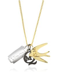 McQ - Gold Tone Metal Charm Necklace - Lyst