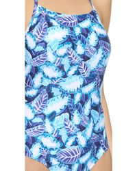 Opening Ceremony - Painted Leaves One Piece - Pelagic Blue Multi - Lyst