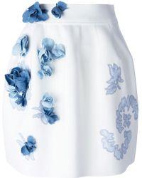Ermanno Scervino Denim Flower Appliqué Skirt white - Lyst