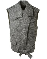 Isabel Marant Grey Sleeveless Estelle Jacket - Lyst