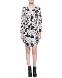 Rebecca Taylor Floral Shirtdress with Drawstring Waist - Lyst