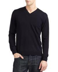 Calvin Klein Merino Wool V-Neck Sweater Slim Fit - Lyst