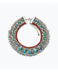 Zara Turquoise Diamante Necklace - Lyst