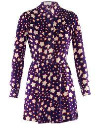 Saint Laurent Star-Print Long-Sleeved Dress - Lyst