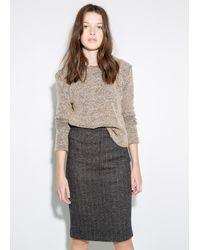 Mango Wool-blend Pencil Skirt - Lyst