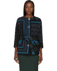 Burberry Prorsum Black and Blue Scottish Wool Geometric Blanket Coat - Lyst