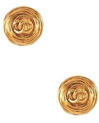 Chanel Pre-Owned Wiry Round Cc Earring gold - Lyst