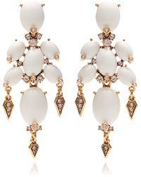 Oscar de la Renta Cabochon Stone and Crystal Earrings in Ivory - Lyst