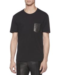 Gucci Tee with Leather Pocket - Lyst