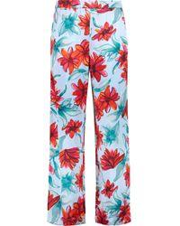 SUNO   Floral-print Silk-satin Straight-leg Trousers   Lyst