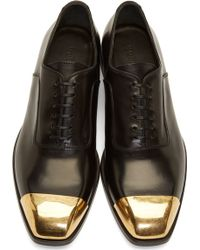 Alexander McQueen Black Leather Toe Cap Oxfords - Lyst