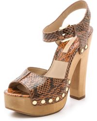 Michael Kors Annabell Snakeskin Clog Sandals - Luggage - Lyst