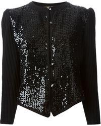 Yves Saint Laurent Vintage Sequin Panel Cardigan - Lyst