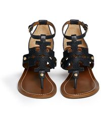 Tory Burch Chandler' Cutout Logo Leather Wedge Sandals blue - Lyst