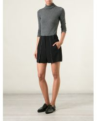 T By Alexander Wang Layered Unfinished Seams Shorts - Lyst