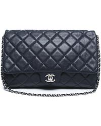 Chanel Pre-owned Navy Caviar Clutch Flap Bag - Lyst