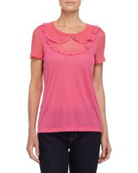 RED Valentino Lace Short-Sleeve Tee - Lyst