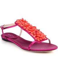 Giambattista Valli Jeweled Satin T-Strap Sandals - Lyst