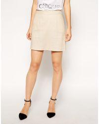 Asos A-line Linen Mini Skirt - Lyst