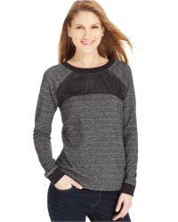 Calvin Klein Jeans Long-sleeve Mixed-media Sweatshirt - Lyst