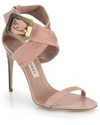 Burberry Marham Leather Criss-Cross Sandals pink - Lyst