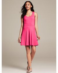 Banana Republic Cross Back Ponte Fit and Flare Dress Radiant Raspberry - Lyst
