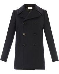 Saint Laurent Doublebreasted Wool Pea Coat - Lyst