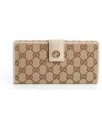 Gucci Tan Leather Trim Gg Canvas Continental Wallet - Lyst