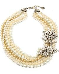 Ben-amun Bridal Multistrand Pearl and Crystal Necklace - Lyst