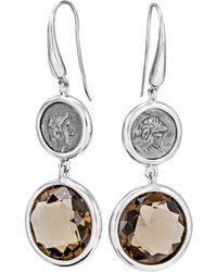 1884 Collection - Legacy Vivace Silver Coin & Smoky Quartz Double-drop Earrings - Lyst