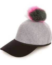 Charlotte Simone   Sass Fox-fur Pompom Cap   Lyst