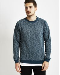 Only & Sons | Mens Crew Neck With Space Died Melange Blue | Lyst